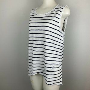 Athleta Striped Linen Sleeveless Top High Low MT